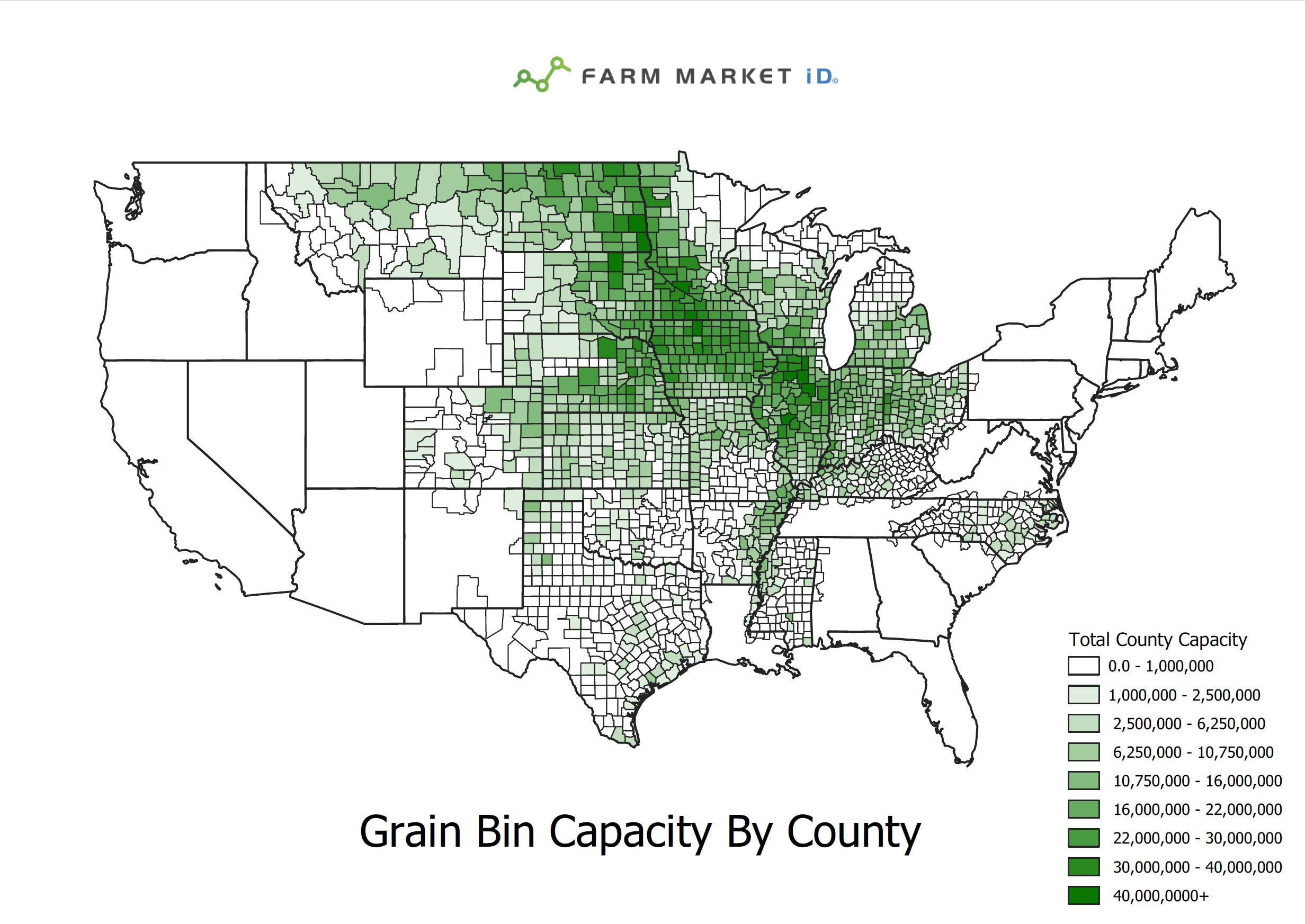 Farm MArket iD Grain Bin Capacity by County